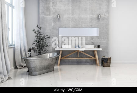 Hipster bathroom interior with freestanding boat-shaped metal bathtub and double vanity in monochromatic grey with window and drapes. 3d rendering. - Stock Photo