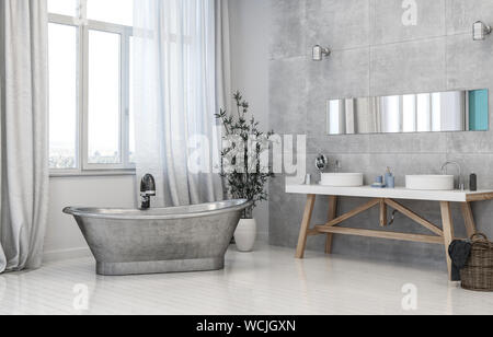 Vintage style grey monochromatic trendy bathroom interior with metal tub, trestle vanities below a mirror and potted plant in front of long windows wi - Stock Photo