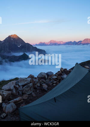 View Of Camping Tent Near The Refuge Bayssellance - Stock Photo