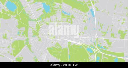 Urban vector city map of Herning, Denmark - Stock Photo