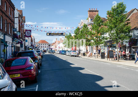 A view down The High Street in Marlow, Buckinghamshire, UK - Stock Photo