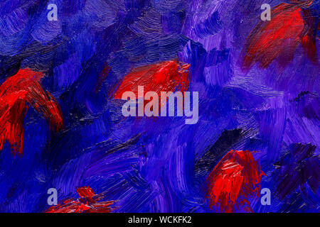 Abstract red, blue and violet brush strokes, real oil painting on canvas by hand full frame