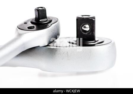 Set of tools isolated on white background. socket wrench. perfect tool kit. Chrome Vanadium Steel. metallized fix equipment. socket wrench isolated on white background. We Are Here For You. - Stock Photo