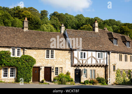 Old half timbered house on the Market place and The St Castle Combe cotswolds village near Chippenham Wiltshire england uk gb Europe