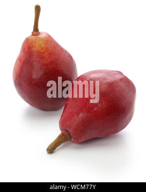 red pears, star crimson isolated on white background - Stock Photo