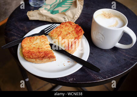 The Welcome Break Membury Services on the M4 near Hungerford with Starbucks coffee shop - Hot toasted sandwich and cappuccino coffee