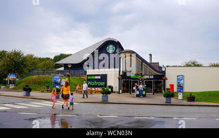 The Welcome Break Membury Services on the M4 near Hungerford with Starbucks coffee shop