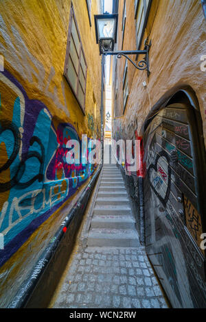 The 36 steps of Marten Trotzigs Grand, narrowest alley in Stockholm located in Gamla Stan, Sweden - Stock Photo