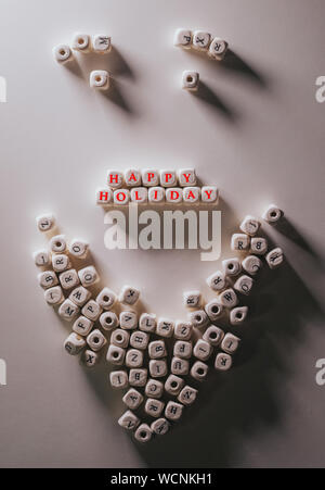 High Angle View Of Alphabetic Blocks Arranging On Table - Stock Photo