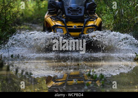 ALTAI TERRITORY, RUSSIA - AUGUST 28, 2019: A forest ranger rides an all-terrain vehicle in a protected area of taiga managed by KBU Altaipriroda in Togul District of Russia's Altai Territory, which is to become part of a protected area under the working name of Togul National Park; according to the Russian government's project Ekologia (Ecology), the proposed national park is to be established by 2024 and to include parts of Zarinsk District, Togul District, and Yeltsovka District of the Altai Territory, with a total area of over 160 hectares. Kirill Kukhmar/TASS - Stock Photo