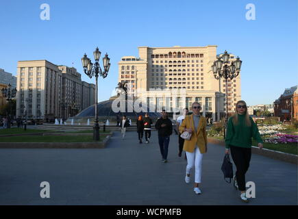 Moscow, Russia. 28th Aug, 2019. MOSCOW, RUSSIA - AUGUST 28, 2019: The Four Seasons Hotel in Manezhnaya Square. Vladimir Gerdo/TASS Credit: ITAR-TASS News Agency/Alamy Live News - Stock Photo