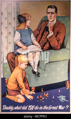 PHOTO: Daddy What did YOU do in the Great War? poster - Stock Photo