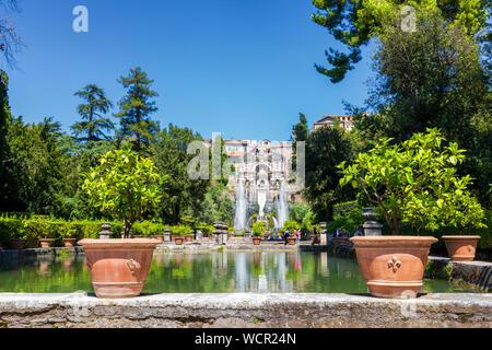 The Neptune Fountain and Water Organ in the gardens at the Villa d'Este, Tivoli, Lazio, Italy - Stock Photo