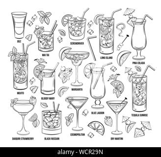 Summer Alcoholic Cocklails Set. Hand Drawn Beverages or Drinks. Engraving Menu or Poster for Beach Party vector illustration. Cosmopolitan, margarita, Pina Colada, Long island, Bloody Mary, mai tai - Stock Photo