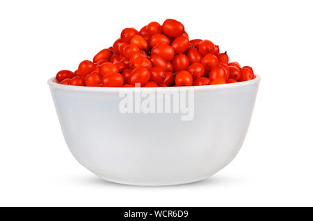 Sea buckthorn isolated on the white. Sea buckthorn on a porcelain plate. White background. Fruits of sea buckthorn. - Stock Photo