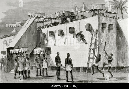 The Annual Customs of Dahomey. The main yearly celebration in the Kingdom of Dahomey (currently Benin), held at the capital, Abomey, in early autumn as a tribute to the invisible spirits. At that time, taxes were collected, the price was fixed in current currency, military and civilian commanders were appointed, good deeds were rewarded and criminals were severely punished, from which the victims destined for the Annual Customs were chosen. On the assigned day they appeared on a high platform and, in baskets, were thrown into a void, dying beheaded by the executioners. Engraving by Capuz. La I - Stock Photo