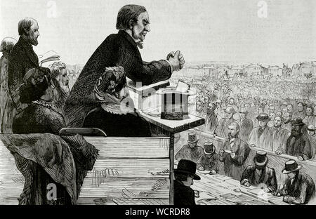 William Gladstone (1809-1898). British statesman and Liberal politician. Meeting held in Greenwich on September 8, 1876 under the presidency of Gladstone, who addressed his voters explaining the atrocities committed by the Turks in Bulgaria. After the act it was agreed to send a message to the Queen and the Government of England, asking for the complete cessation of the Turkish administration in the provinces of Bulgaria, Bosnia and Herzegovina. Engraving. La Ilustracion Española y Americana, September 22, 1876. - Stock Photo