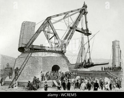 Italy. Port of Spezia. Italian Navy. Assembly of the huge 100-ton Armstrong cannon on the battleship 'Duilio'. A large crane designed by an engineer from Elswick Ordnance Company, founded by William Armstrong in 1847, had to be built in order to install the cannon on October 15, 1876. Engraving by Capuz. La Ilustracion Española y Americana, November 22, 1876. - Stock Photo