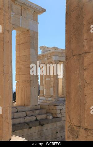 Temple of Athena Nike. View from the Propylaea - Acropolis of Athens - Stock Photo