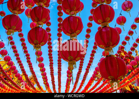 Low Angle View Of Red Lanterns Hanging During Chinese New Year - Stock Photo