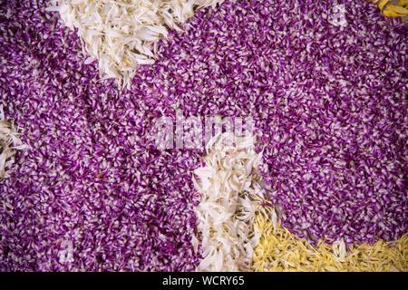 Full Frame Shot Of Flower Rangoli - Stock Photo