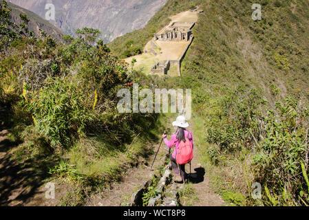 Looking over the amazing Choquequirao Incan ruins, the 'other Machu Picchu,' Santa Teresa, Apurimac, Peru - Stock Photo