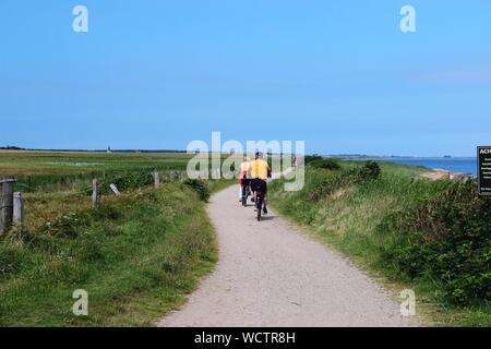 Rural Scene With Rear View Of Two People On Bycicles - Stock Photo