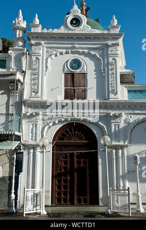 The Jummah Masjid (mosque) on the Royal Road in Port Louis dates from the 1850s, with substantial additions built through the 1890s. It is one of the most beautiful religious buildings in the country. Mauritius. July 10, 2010. - Stock Photo