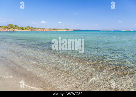 Lesvos island, the beach of Chryssi Ammos (Golden Sand), near the village of Mantamados, in northern Lesvos. - Stock Photo