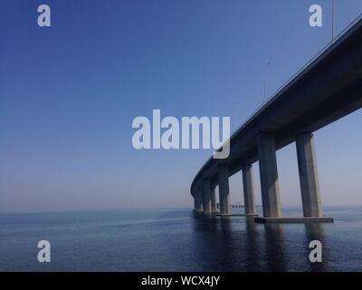 Low Angle View Of Vasco Da Gama Bridge Over Tagus River - Stock Photo
