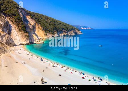 Famous Myrtos beach in Kefalonia island, Greece. - Stock Photo