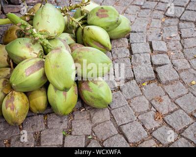 Freshly cut young coconuts in Kochi (Cochin) Ernakulam District, Kerala, India, Asia - Stock Photo