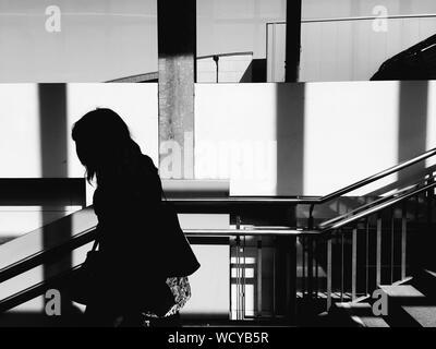 Silhouette Woman Walking On Staircase - Stock Photo