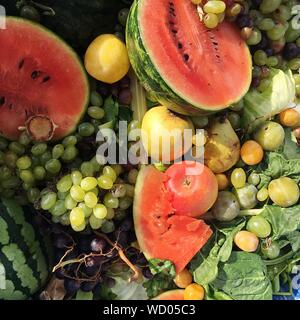 High Angle View Of Various Fruits - Stock Photo