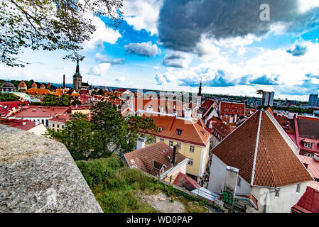 Panorama of Old Town, Tallinn Estonia from Bell Tower of St. Mary's Cathedral on Toompea Hill - Stock Photo