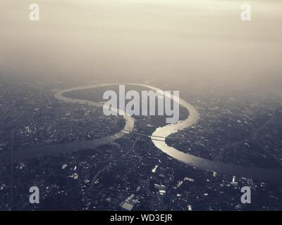 Aerial View Of Landscape Against Sky - Stock Photo