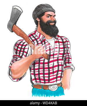 Bearded logger with ax. Ink and watercolor illustration - Stock Photo