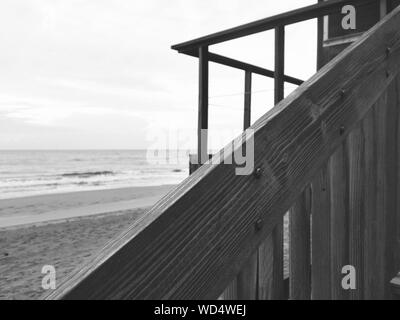 Cropped Lifeguard Hut On Sandy Beach - Stock Photo