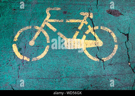 Bicycle sign on road - Stock Photo