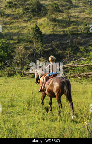 Boy Horse Riding In Meadow - Stock Photo