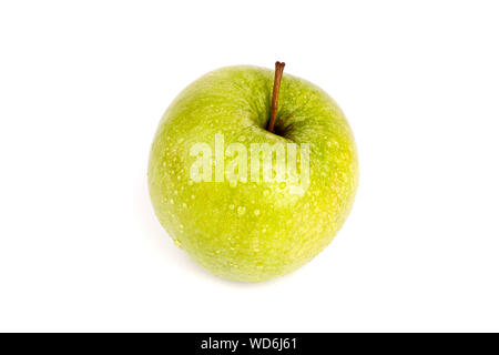 Fresh green apple in water drops on white background isolated close up macro - Stock Photo