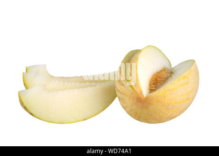 Sliced melon with seeds and melon slices on white background isolated close up - Stock Photo