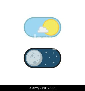 Day and night mode application icons. Vector illustration - Stock Photo