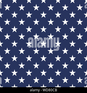 USA flag seamless pattern vector illustration. White stars on blue background - Banner,background, wallpaper etc. - Stock Photo