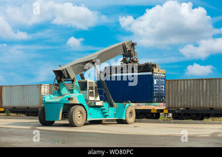 Container Forklift Truck in Storage Warehouse Ship Yard, Vehicle Factory and Distribution Machine for Products Delivery. Business Industrial Shipping - Stock Photo