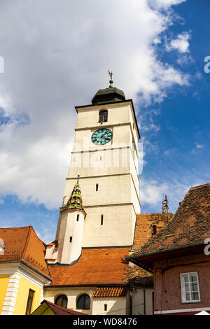 View of Council Tower in the old town, Sibiu. - Stock Photo
