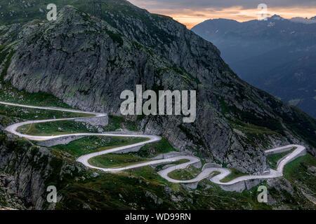 Tremola, San Gottardo, Airolo, Switzerland, Europe - Stock Photo