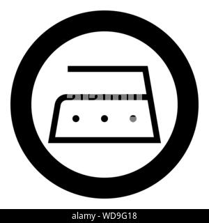 Ironing is allowed high temperature to two hundred 200 degrees Clothes care symbols Washing concept Laundry sign icon in circle round black color - Stock Photo