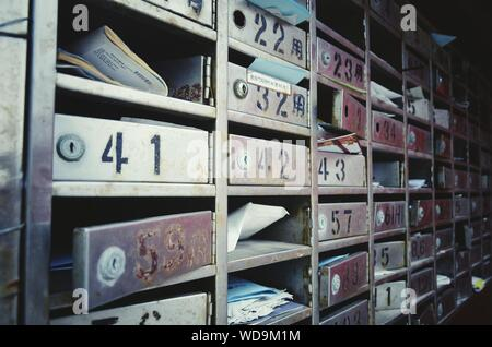 Metallic Mailboxes With Documents - Stock Photo