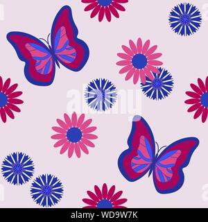 Seamless pattern with butterflies among daisies and cornflowers. Vector illustration, eps10 - Stock Photo